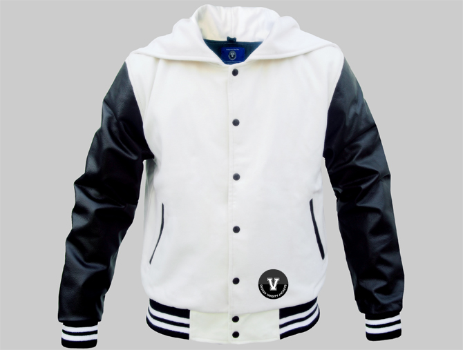 Zipper Hood Varsity Jackets Made Of Wool And Genuine Leather
