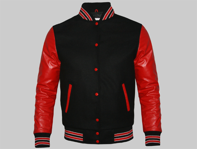 Custom Varsity Jacket For Women Made Of Black Wool And Red