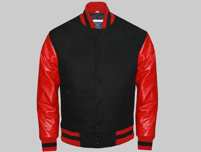Men Custom Letterman Jackets Made Of Black Wool And Red Genuine