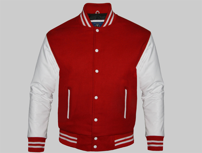 Custom Varsity Jackets For Men Red Wool And Genuine Leather Sleeves